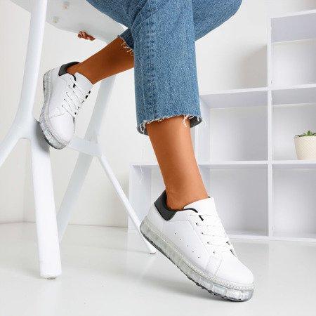 Білі та чорні кросівки на платформі з цирконами Mauria - Взуття