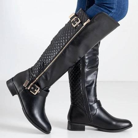 ВИХІД Жіночі чорні стьобані чоботи середньої ікри Latonya - Взуття