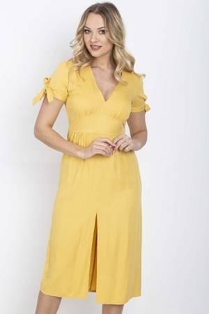 Жовта сукня міді з гудзиками - Одяг