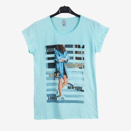 Жіноча футболка з м'ятою з принтом - Блузки 1