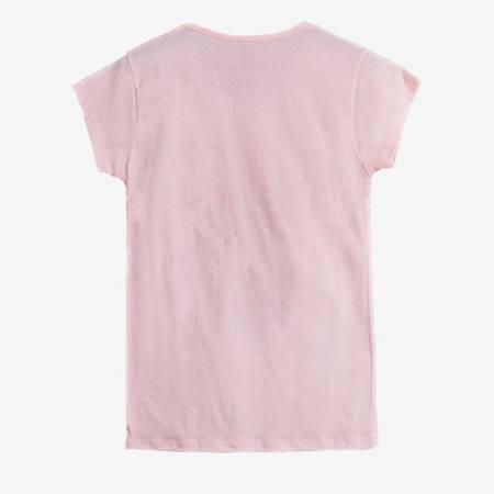 Жіноча футболка світло-рожевого кольору з різнокольоровим принтом - Одяг 1