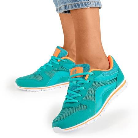Жіноче бірюзове спортивне взуття з помаранчевими вставками Kannasi - Взуття