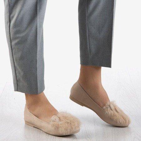 Жіночі балерини бежевого кольору з хутром та вушками Дар'я - Взуття