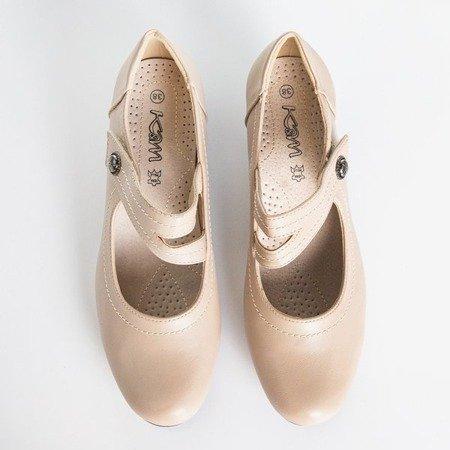 Жіночі бежеві туфлі на низькій стійці Romsska - Взуття