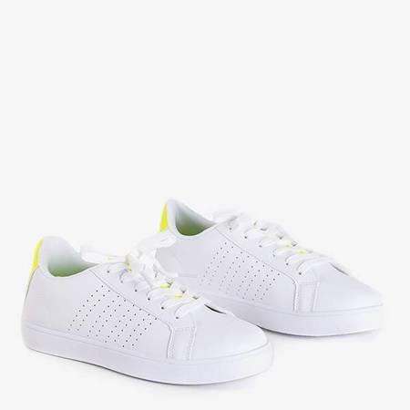 Жіночі білі кросівки з неоновими жовтими вставками Xandra - Взуття