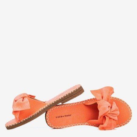 Жіночі коралові шльопанці з бантом Latus - Взуття 1