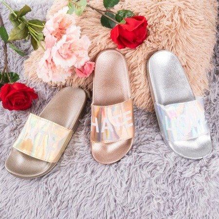 Жіночі тапочки рожеві та золоті з написом HATE & LOVE - Взуття 1