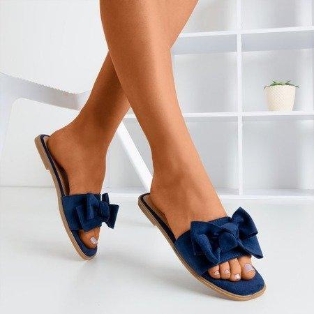 Жіночі тапочки темного синього кольору з бантом Mirena - Взуття 1