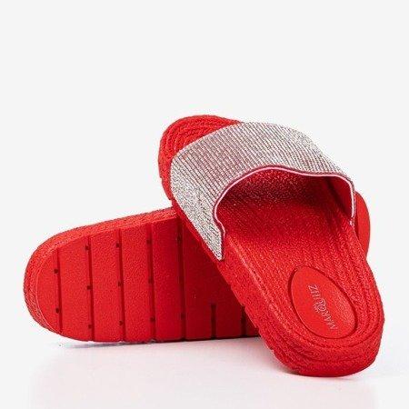 Жіночі червоні тапочки з фіанітом Blink Blink - Взуття
