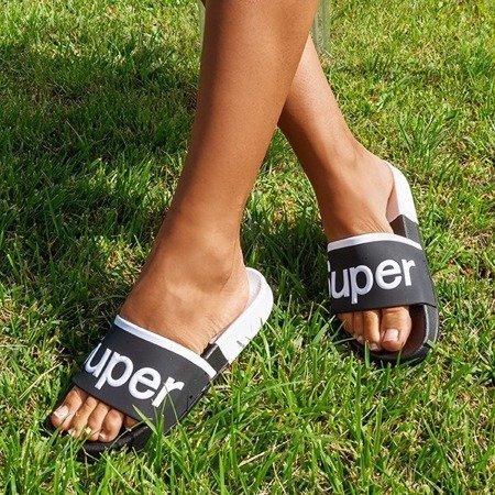 Жіночі чорні босоніжки з написом Supera - Взуття