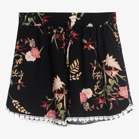 Жіночі чорні квіткові шорти - Одяг