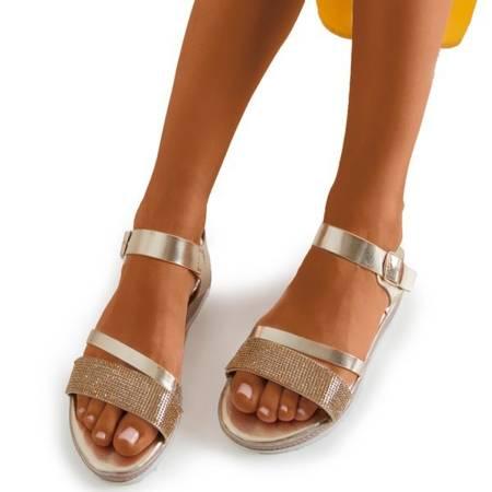 Золоті жіночі босоніжки з кубічними цирконіями Ido - Взуття