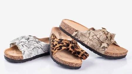 Коричневі жіночі шльопанці з леопардовим бантиком Сонце - Взуття 1