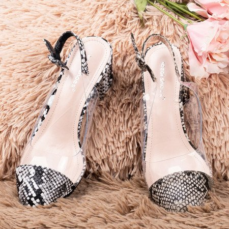 Коричневі туфлі на низькому стовпі з зміїної шкіри Evoria - Взуття