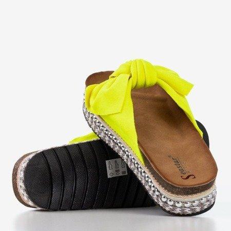 Неонові жовті жіночі тапочки з бантом Kordesa - Взуття