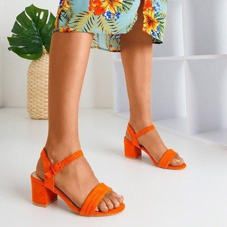 Оранжеві жіночі босоніжки на низькому пості Niusty - Взуття