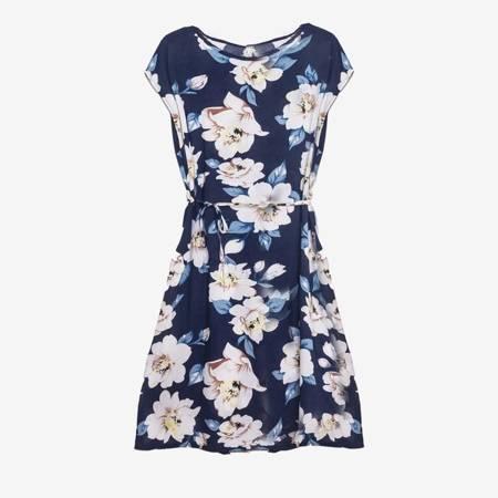 Плаття темно-синього кольору до коліна з квітковим принтом - Одяг 1