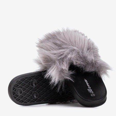 Світло-сірі дитячі тапочки з хутром Miaue - Взуття 1