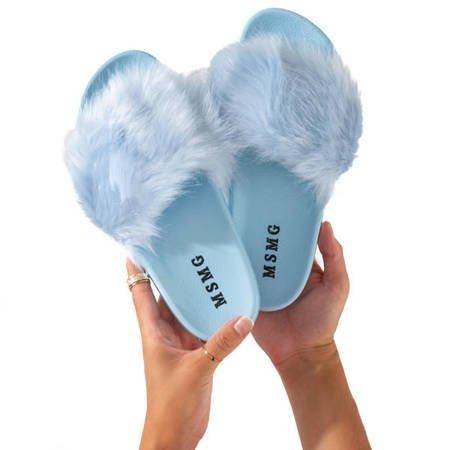 Сині тапочки з хутром Millie - Взуття
