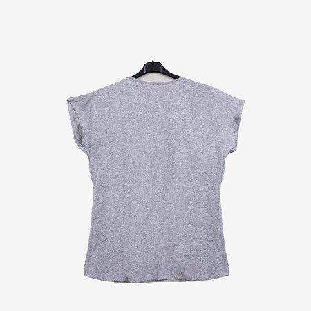 Сіра жіноча футболка, прикрашена велюровим принтом - Блузки 1