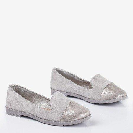 Сірі жіночі лофери з декоративним рельєфним шлейфом - Взуття 1