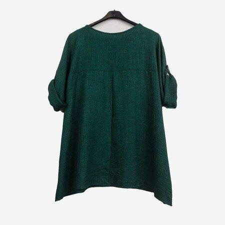Темно-зелена жіноча туніка з написами - Блузки 1