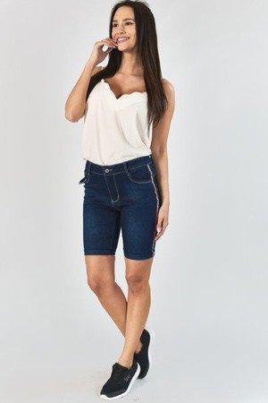 Темно-сині джинсові шорти в смужку - Одяг