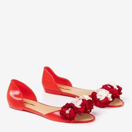 Червоні квіти меліски з квітами Лабада - Взуття