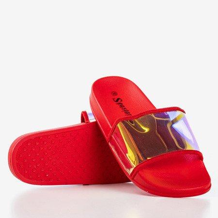 Червоні тапочки з голографічною смужкою Blide - Взуття