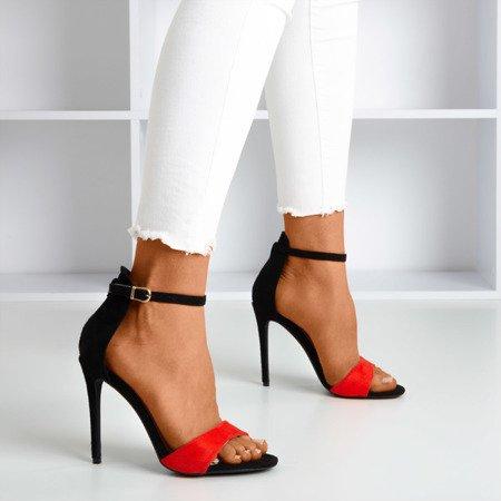 Червоні - чорні жіночі босоніжки на високому каблуці Gold Rush - Взуття 1