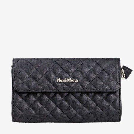 Чорна стьобана сумка-посланник на срібному ланцюжку - Сумочки