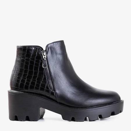 Чорні ботильйони зі зміїною шкірою, вибиваючи Busselia - Взуття