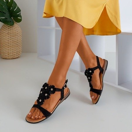 Чорні жіночі босоніжки з квітами Madlen - Взуття