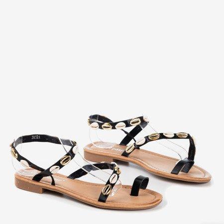 Чорні жіночі босоніжки з оболонками - Взуття 1