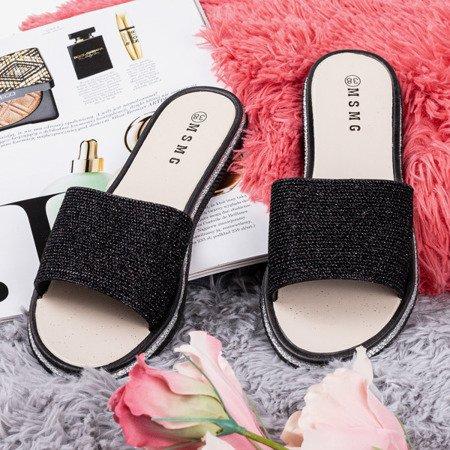 Чорні жіночі тапочки з фіанітами Rocca - Взуття