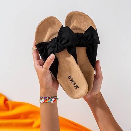 Чорні жіночі тапочки із сонцем та веселим бантиком - Взуття