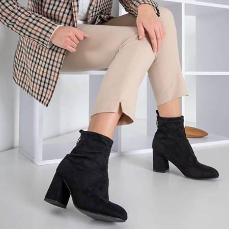 Чорні жіночі черевики на посту з еко-замші Вітольда - Взуття
