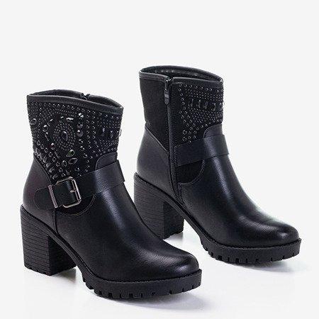 Чорні жіночі черевики на пості з цирконами Clion - Взуття