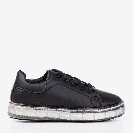 Чорні кросівки на платформі з фіанітом Маурія - Взуття
