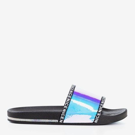 Чорні шльопанці з голографічним фіолетовим ремінцем Rinata - Взуття 1