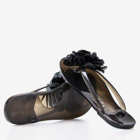 Чорні шльопанці з квітами Dormeque - Взуття 1