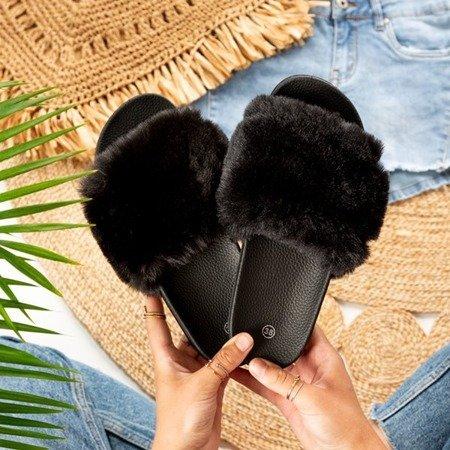 Шльопанці з чорного хутра Koula - Взуття 1