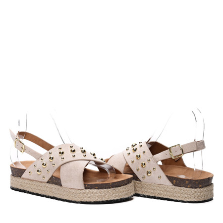 Beżowe sandały- Obuwie