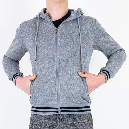 Чоловічий теплий сірий светр із смужками - Одяг