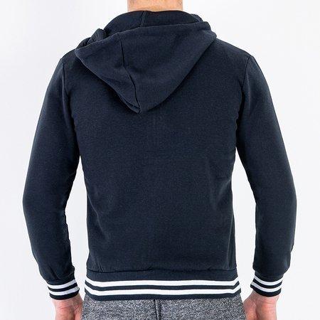 Чоловічий теплий темно-синій светр із смужками - Одяг