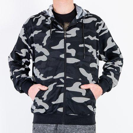 Чорний чоловічий світшот в стилі камуфляж - Одяг