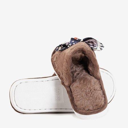 Коричневі жіночі тапочки з хутром Worren - Взуття