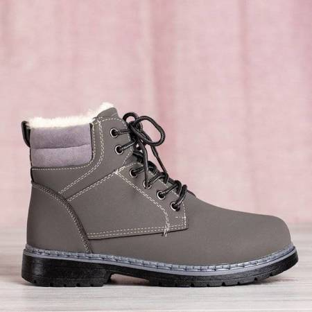 OUTLET Сірі черевики з хутром Ressalie - Взуття