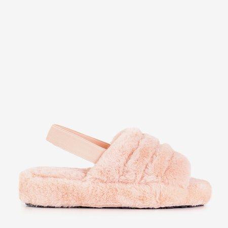 Пудрові жіночі хутряні тапочки Fornax - взуття