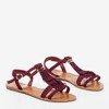 Бордові босоніжки з бахромою Minikria - Взуття 1